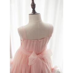 Vestidos princesa/ Formato A Comprimento médio Vestidos de Menina das Flores - Tule Sem magas alças de ombro com fecho de correr (010164712)