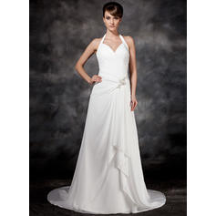 Beautiful Court Train A-Line/Princess Wedding Dresses Halter Chiffon Sleeveless
