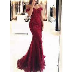 Trumpet/Mermaid Off-the-Shoulder Tulle Lace Sleeveless Sweep Train Beading Sequins Evening Dresses