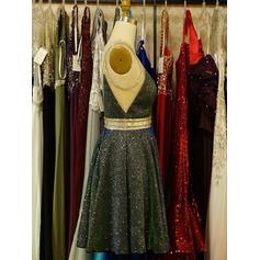 Ceintures Brodé Forme Princesse Court/Mini Pailleté Robes de soirée étudiante (022216238)