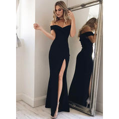 Fashion Stretch Crepe Evening Dresses Trumpet/Mermaid Floor-Length Off-the-Shoulder Sleeveless