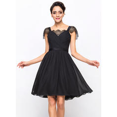 A-Line/Princess Sweetheart Knee-Length Cocktail Dresses With Ruffle Lace (016055959)