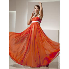 Empire Square Neckline Floor-Length Chiffon Prom Dresses With Ruffle Sash