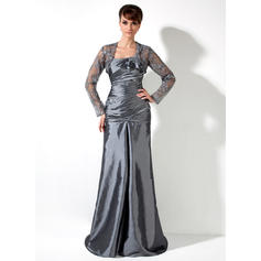 Taffeta Sleeveless Mother of the Bride Dresses One-Shoulder A-Line/Princess Ruffle Lace Beading Sweep Train