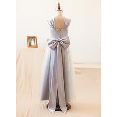 Forme Princesse Longueur ras du sol Robes à Fleurs pour Filles - Satiné/Tulle Sans manches Bretelles avec À ruban(s) (010104995)