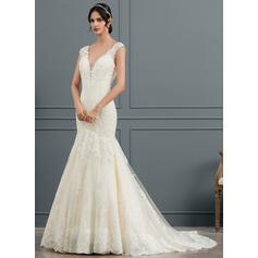 Trompete/Sereia Decote V Cauda longa Tule Vestido de noiva (002153463)