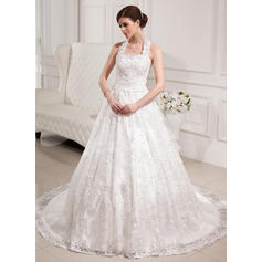 Fashion Chapel Train Halter Ball-Gown Lace Wedding Dresses (002196869)