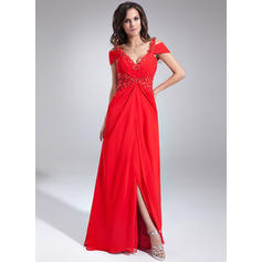 Chiffon V-neck A-Line/Princess Sleeveless Flattering Evening Dresses (017020677)