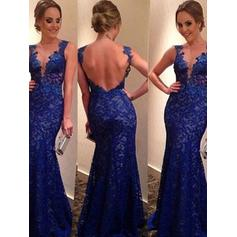 Floor-Length Appliques Lace Trumpet/Mermaid Evening Dresses