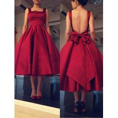 Luxurious Satin Homecoming Dresses A-Line/Princess Tea-Length Square Neckline Sleeveless