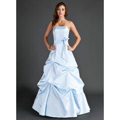 A-Line/Princess Satin Bridesmaid Dresses Ruffle Strapless Sleeveless Floor-Length
