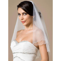 Elbow Bridal Veils Tulle Two-tier Classic With Scalloped Edge Wedding Veils