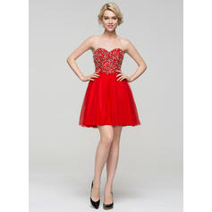 red homecoming dresses lace