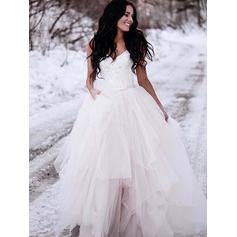 Newest Sweep Train Ball-Gown Wedding Dresses V-neck Tulle Sleeveless