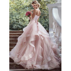 Beading Cascading Ruffles Sleeveless Ball-Gown - Organza Wedding Dresses