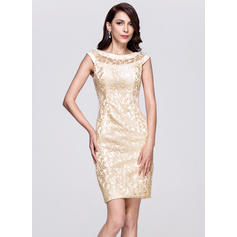 Sheath/Column Scoop Neck Knee-Length Cocktail Dresses
