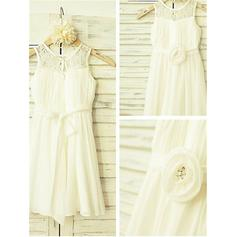 Scoop Neck A-Line/Princess Flower Girl Dresses Chiffon Flower(s) Sleeveless Ankle-length