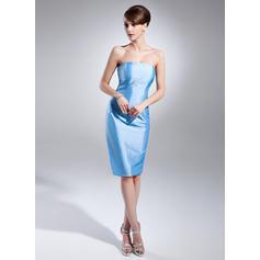 Forme Fourreau Taffeta Sans manches Sans bretelle Longueur genou Fermeture éclair Robes mère de la mariée (008213137)