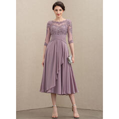 A-Line Scoop Neck Tea-Length Chiffon Lace Cocktail Dress With Cascading Ruffles