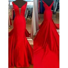 Satin V-neck Trumpet/Mermaid Gorgeous Prom Dresses