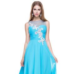 Gasa Tirantes comunes Escote redondo Corte A/Princesa Vestidos de baile de promoción (018056773)
