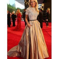 A-Line/Princess Scoop Neck Taffeta Short Sleeves Beautiful Prom Dresses (018145866)