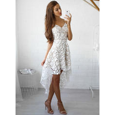 A-Line/Princess V-neck Off-the-Shoulder Asymmetrical Lace Evening Dresses