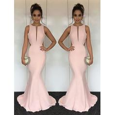 Trumpet/Mermaid Prom Dresses Glamorous Sweep Train Scoop Neck Sleeveless