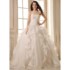 Sleeveless General Plus Sweetheart With Satin Organza Wedding Dresses