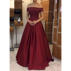 Satin Sleeveless Ball-Gown Prom Dresses Off-the-Shoulder Appliques Floor-Length