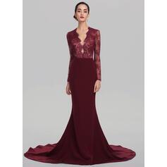 Trumpet/Mermaid V-neck Court Train Stretch Crepe Evening Dress (017137372)