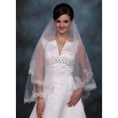 Waltz Bridal Veils Tulle One-tier Mantilla With Lace Applique Edge Wedding Veils