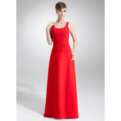 Chiffon Sleeveless A-Line/Princess Bridesmaid Dresses Scoop Neck Ruffle Floor-Length