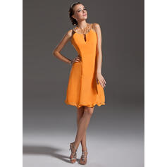 A-Line Halter Knee-Length Chiffon Cocktail Dress With Beading (016006692)