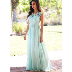 A-Line/Princess Chiffon Lace Bridesmaid Dresses Scoop Neck Sleeveless Floor-Length