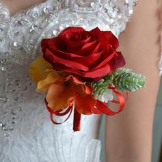 "Boutonniere Wedding Satin 3.94""(Approx.10cm) 3.94""(Approx.10cm) Wedding Flowers"
