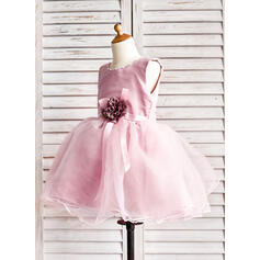 Forme Princesse Longueur genou Robes à Fleurs pour Filles - Organza Sans manches Col rond avec Brodé/Fleur(s)/À ruban(s) (010091893)