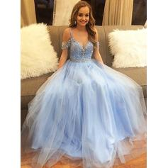 A-Line/Princess Off-the-Shoulder Floor-Length Tulle Evening Dresses With Beading