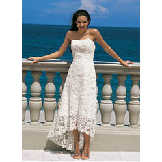 A-Line/Princess Lace Sleeveless Strapless Asymmetrical Wedding Dresses