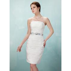 Sheath/Column Strapless Taffeta Sleeveless Knee-Length Ruffle Beading Cocktail Dresses
