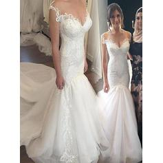 Newest Off-The-Shoulder Trumpet/Mermaid Wedding Dresses Chapel Train Tulle