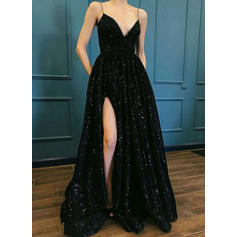 A-Line/Princess V-neck Floor-Length Prom Dresses With Split Front