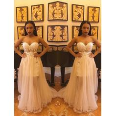 Sleeveless Princess A-Line/Princess Chiffon Lace Split Front Prom Dresses