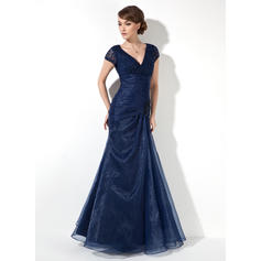 Trumpet/Mermaid Organza Short Sleeves V-neck Floor-Length Zipper Up Mother of the Bride Dresses (008213085)
