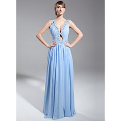 A-Line/Princess V-neck Chiffon Sleeveless Floor-Length Ruffle Beading Sequins Evening Dresses