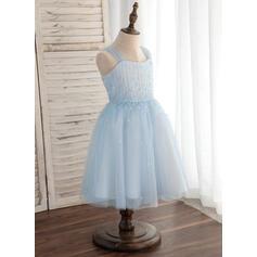 Vestidos princesa/ Formato A Coquetel Vestidos de Menina das Flores - Tule Sem magas alças de ombro (010148841)