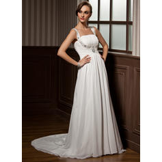 Luxurious Scoop A-Line/Princess Wedding Dresses Court Train Chiffon Sleeveless