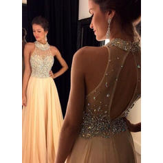 2018 New Chiffon Prom Dresses A-Line/Princess Floor-Length Scoop Neck Sleeveless