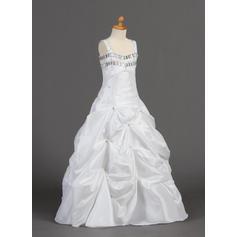 A-Line/Princess Floor-length Taffeta - Magnificent Flower Girl Dresses (010005901)