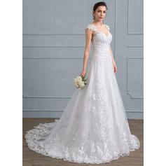 Tulle Dentelle Forme Princesse avec Sublime Standard Grande taille Robes de mariée (002111937)